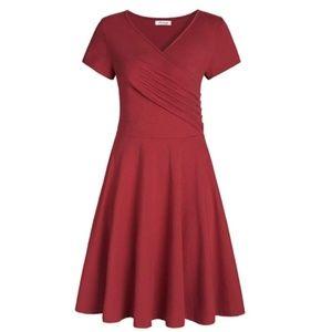 Women's Surplice V Neck Knee Length Wrap Dress
